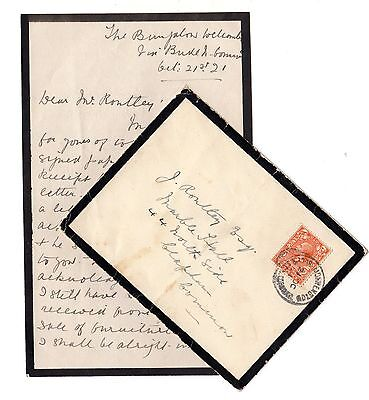 GB KGV 1921 Mourning Cover and Letter Bude Cornwall X3869