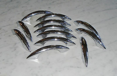 14 Hollow Vintage Sleek MCM Chrome Cabinet Drawer Pull Handles - 4 1/2in