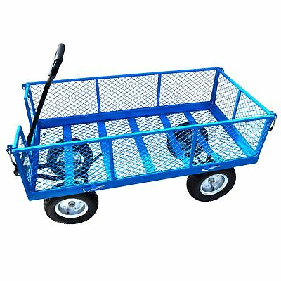 Large Metal Garden Cart Utility Sack Truck Trolley Heavy Duty Wheelbarrow