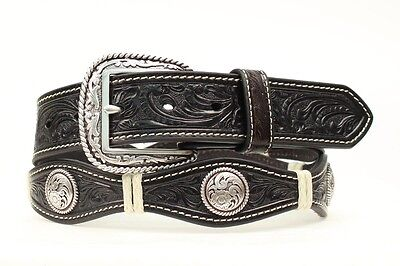 ARIAT Scallop LEATHER Rawhide ~Silver Buckle~ MAN WESTERN BELT Cowboy A10106 16