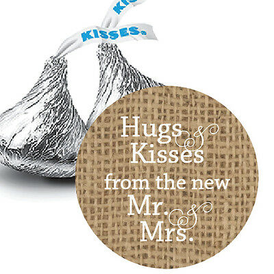 108 Burlap Hugs & Kisses from the new Mr. & Mrs. Hershey Kiss Wedding Stickers