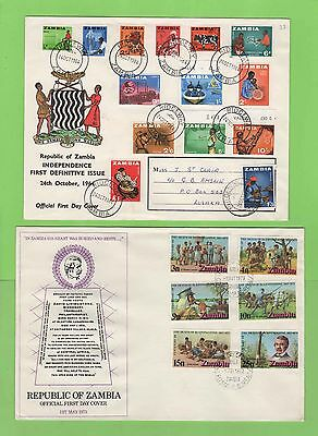 Zambia - Collection of seven First Day Covers inc definitive set FDC