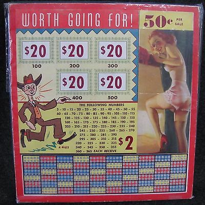 Vintage WORTH GOING FOR Punch Card Gambling 50c Cent Game NOS (AB243)