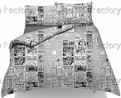 Newspaper Printed Duvet/Quilt Cover Pillowcases Bedding Set Luxury High Quality