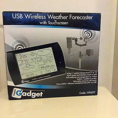 Wireless Usb Weather Station With Touch Screen Display. Indoor/Outdoor Sensors
