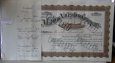 Original 1909 Stock Certificate Matson Navigation Company Signed By Wm. Matson