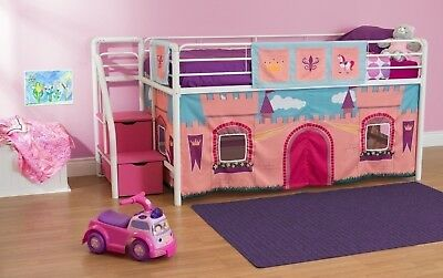 NEW Kids Twin Junior Loft Bed Curtain Princess Castle Fairytale Play Area Girl