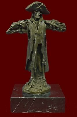 Vintage Art Deco French Bronze Style Metal Figural Pirate Skull Home Decor Gift