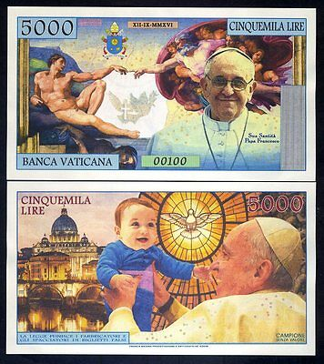 Vatican, 5000 Lire, 2016 Private Issue Kamberra, UNC > Pope Francis