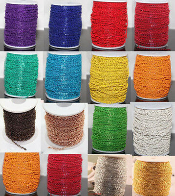 Lot 2/5/10/100yds Plated Cable Open Link Iron Metal Chain Necklace Making 3x2mm