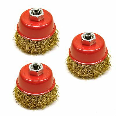 Wire Cup Brush / Wheel for Angle Grinder Crimped Brass Coated (3 Pack) TE331