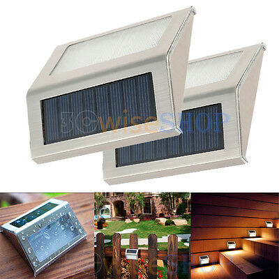 2X 3-LED Solar Power Stair Light Wall Lamp Outdoor Garden Pathway Step Decking