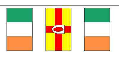Ulster & Ireland Polyester Flag Bunting - 20m with 56 Flags