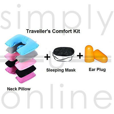 Inflatable Travel Neck & Head Pillow Sleep Mask & Ear Plugs Set