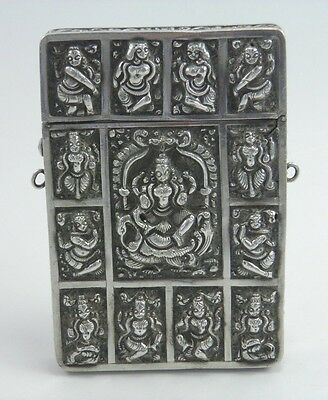 Antique 19th century Indian Kutch silver card case embossed figural decoration