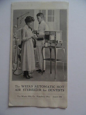 c.1915 Weeks Mfg Co Dentist Dental Hot Air Sterilizer Autoclave Catalog Brochure