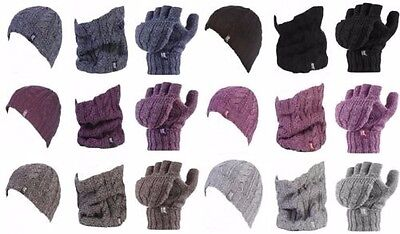 Heat Holders - Womens Knitted Thermal Hat, Fingerless Gloves & Neck Warmer Set