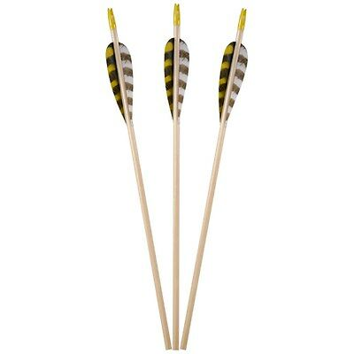 BEARPAW-Standard Wooden Arrow Eco, 5/16, 6pk FLETCHED WITH FEATHERS, NOCKS!