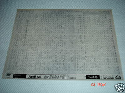AUDI A4 AVANT 1998 to 1999 PARTS MICROFICHE FULL SET OF 1 - DATED JANUARY 1999