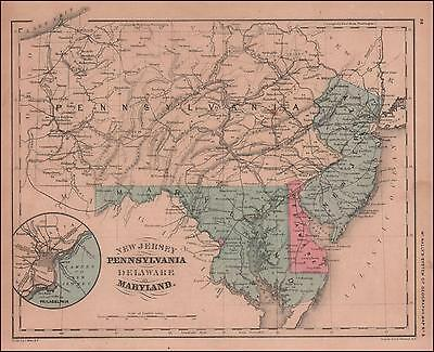 NEW JERSEY, PENNSYLVANIA, DELAWARE & MARYLAND, hand colored antique map 1866