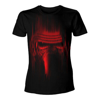 STAR WARS VII The Force Awakens Adult Male Distressed Red Kylo Ren T-Shirt M Blk