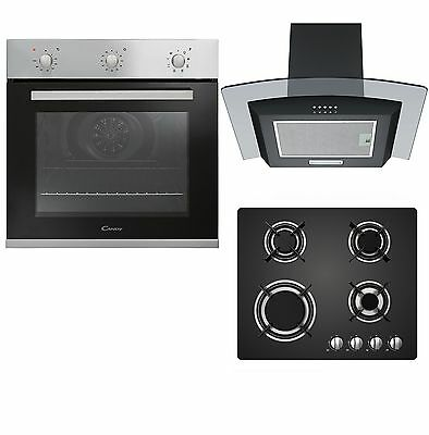 Candy Single Built-in Fan Oven, Black Gas-on-Glass Hob & Curved Cooker Hood Pack