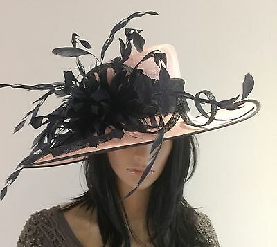 Nigel Rayment Pink Navy Occasion Wedding Hat Mother Of The Bride Feathers