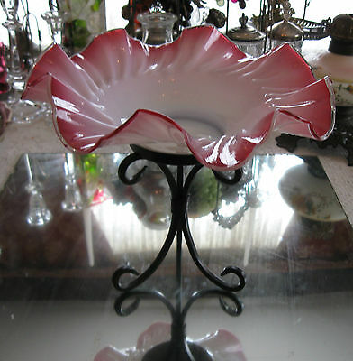 Beautiful Antique  Victorian Cranberry / Pink Glass Bride's Bowl + Free Stand