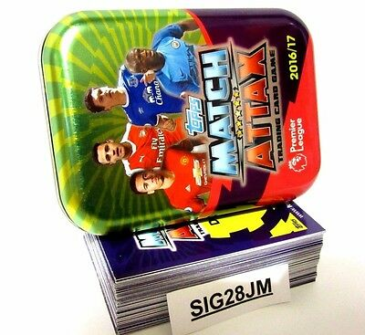 48 Base + 12 Shiny Foil Cards In Match Attax Pocket Collectors Tin 2016 2017 New
