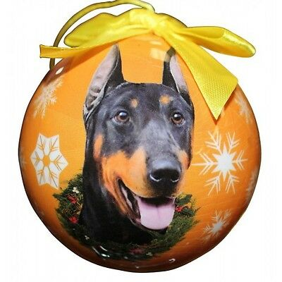 Doberman Pinscher Christmas Ornament Dog Shatter Proof Ball Snowflakes Yellow