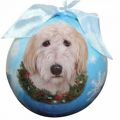 Goldendoodle Christmas Ornament Dog Shatter Proof Ball Snowflakes Blue Wreath
