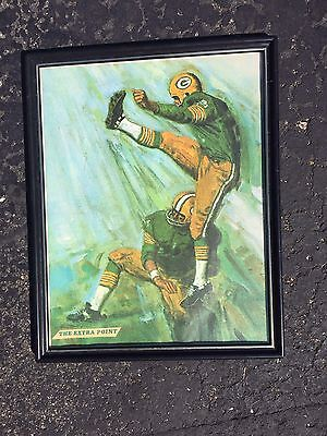 """1960's Mobile Oil Bruce Bomberger Green Bay Packers Lithograph """"The Extra Point"""""""