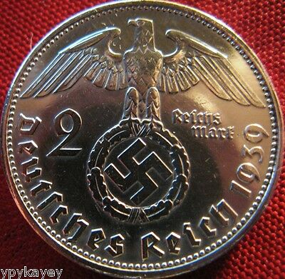 Nazi German 2 Reichsmark SILVER 1939 Genuine Coin Third Reich EAGLE SWASTIKA
