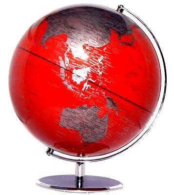 Red World Globe Rotating Educational Chinese Wedding Good Luck New Yea Gift 30cm