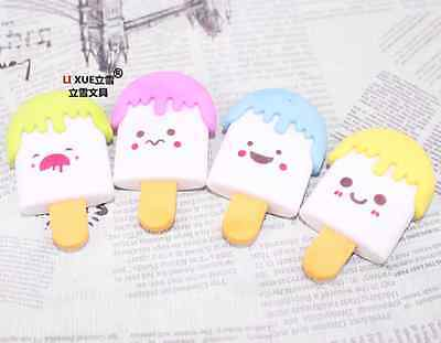 2 x Novelty Ice Lolly shape Removable Eraser Rubber Stationery Kid Gift Party