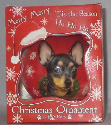 Black Chihuahua Christmas Ornament Shatter Proof Ball Dog Snowflake Wreath Red