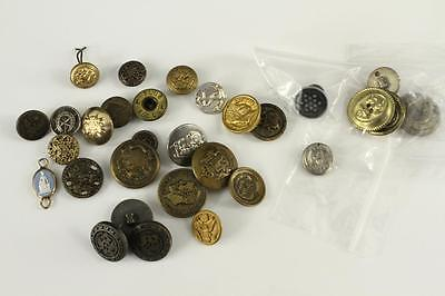 Vintage Mixed Lot Metal Buttons US UK Military State Uniform Advertising