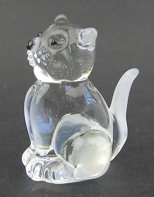 Clear Glass Cat Figurine Miniature,  4.5cm High Boxed White Highlights