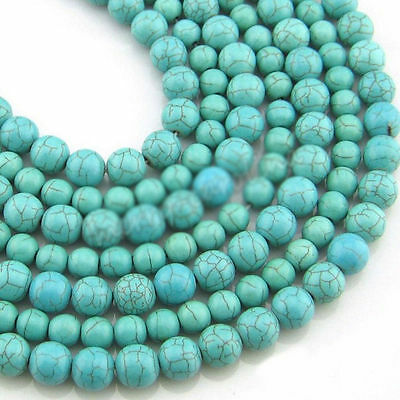 Wholesale 20-200Pcs Blue Turquoise Round Loose Spacer Beads 4/6/8/10mm Making