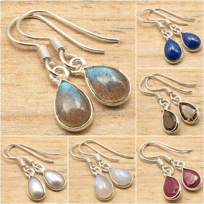 925 Silver Plated Natural LABRADORITE & Other Stone Earrings ! Fashion Jewelry