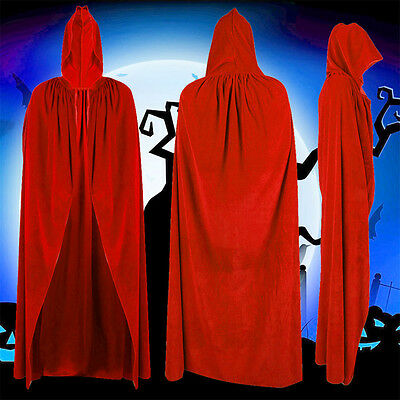 Halloween Witch Velvet Cloak Red Adult Hooded Cape Wedding Robe Costume Party