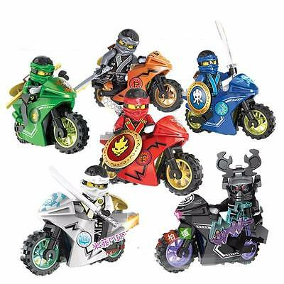 6 Sets Phantom Ninja Ninjago Series Minifigures Toy Motorcycle Chariot Blocks DR