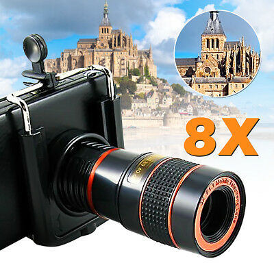 8x Zoom Optical Camera Telephoto Telescope Lens Holder For Mobile Cell Phone UK