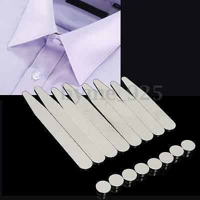 8Pcs Polished 304 Stainless Steel Collar Stays + 8 Magnets for Mens Dress Shirts