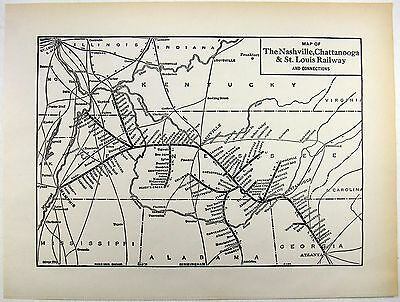 Original 1941 Nashville, Chattanooga & St. Louis Railway System Map