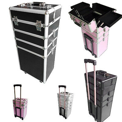 4 in 1 Cosmetics Beauty Trolley Hairdressing Vanity Case Box Beautify 4 Colors