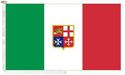 Italy Civil Ensign Roped & Toggled 2 Yard Courtesy Boat Flag