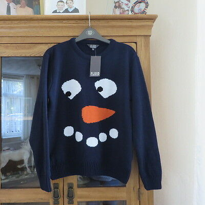 Fluid Navy Crew neck Carrot face design jumper Chest 36 New