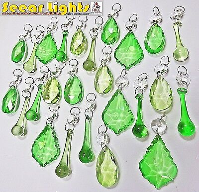 25 Antique Deco Two Tone Green Crystals Glass Light Parts Drops Wedding Beads Bn