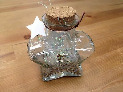"""New Origami Star Shaped Jar Glass Favor Bottle with Cork- 3.5"""""""